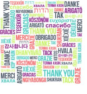Nube de palabra gracias en diferentes idiomas